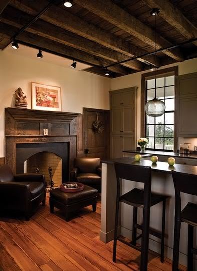 the idea of having a fireplace in the kitchen has always been so