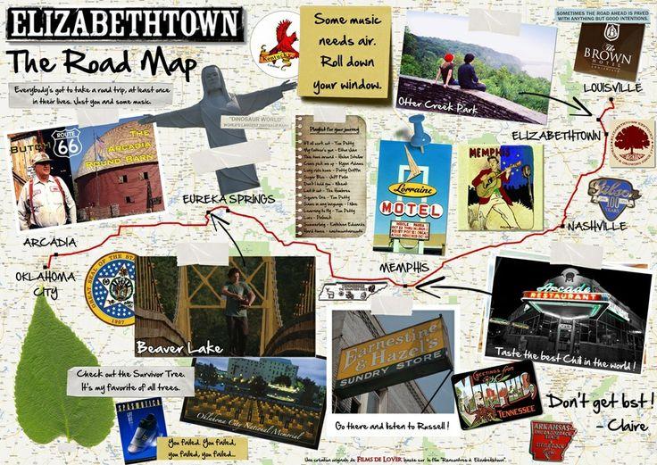 Road Trip Map Elizabethtown Style Verbena
