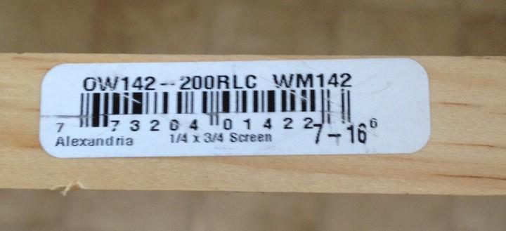 screen molding measurements