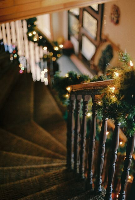 stairs with garland
